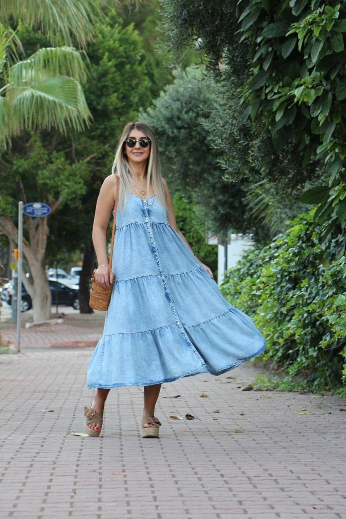 Askılı Kot Elbise