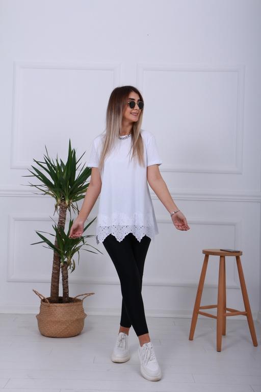 Beyaz Fisto Detay Tshirt