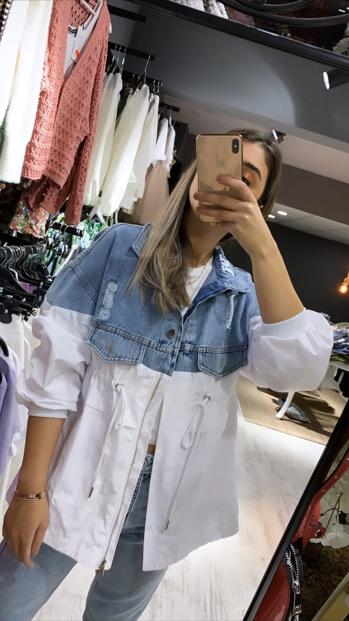 Beyaz Kot Detay Ceket