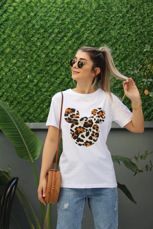 Beyaz Leopar Tshirt