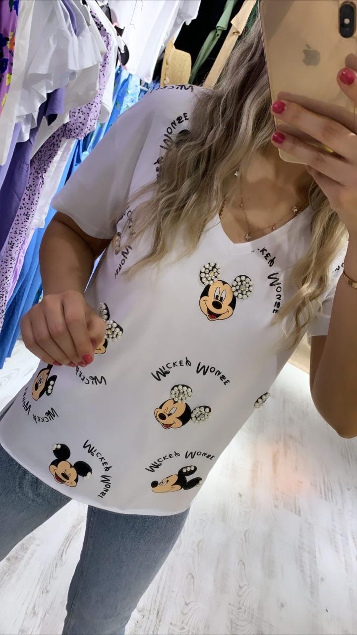 Beyaz V Yaka Micky Detay Basic Tshirt