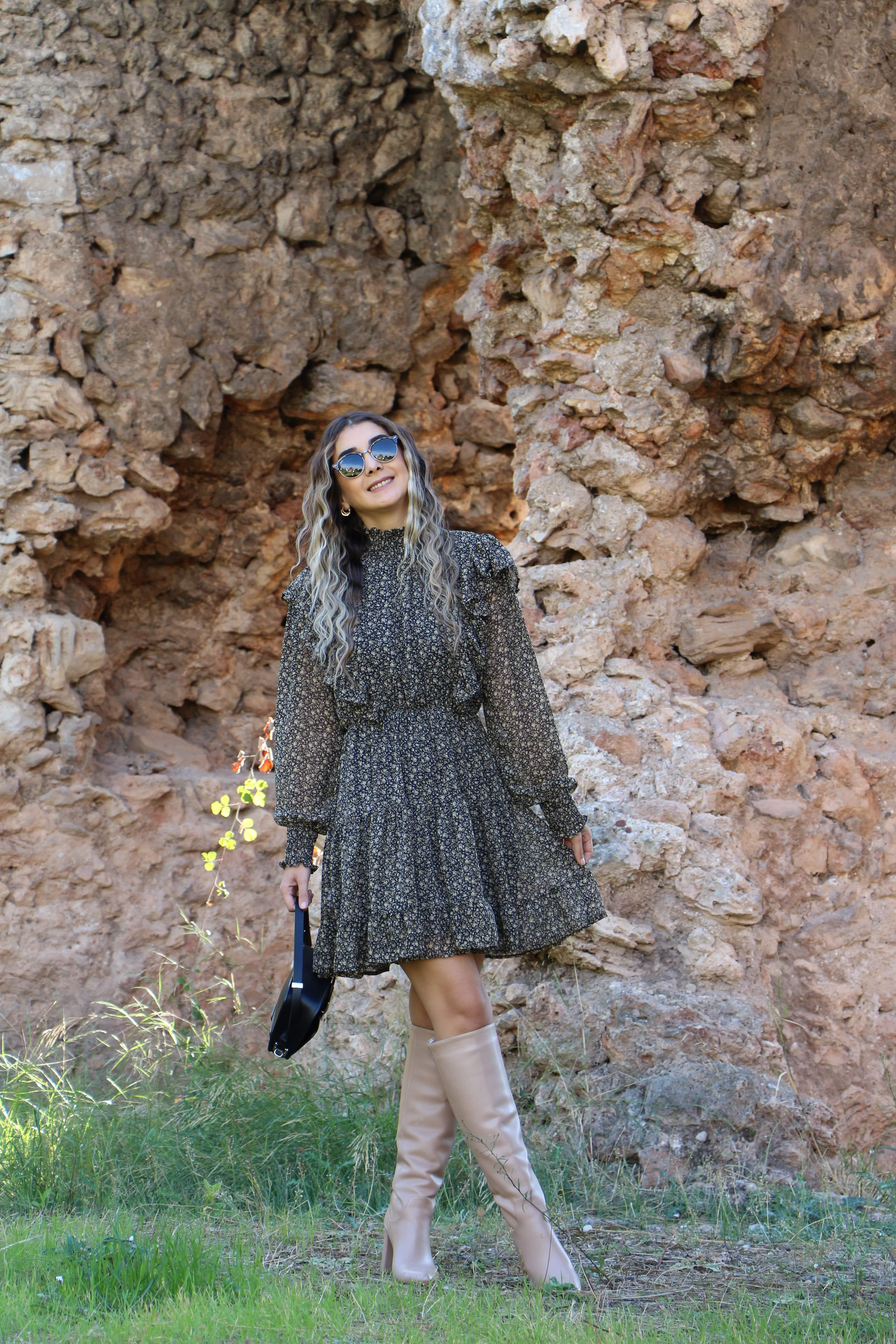 Çıtır Desen Fırfırlı Elbise