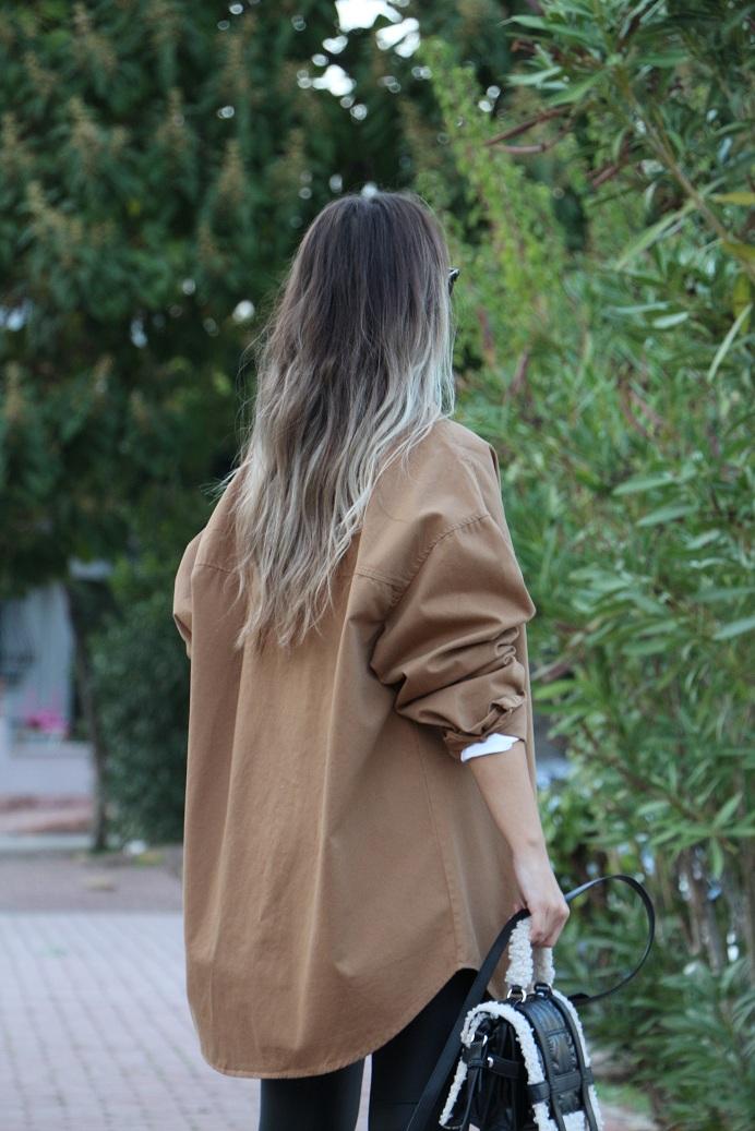 Kahve Oversize Ceket Gömlek