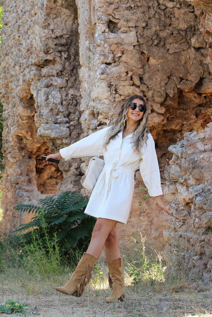 Krem Ceket Elbise