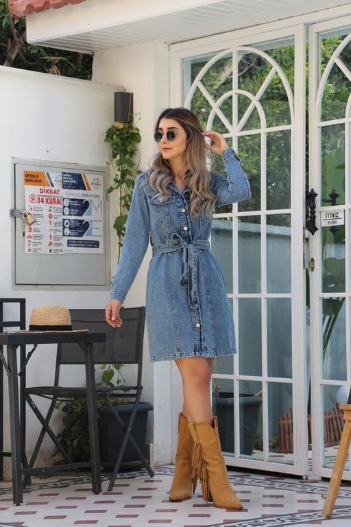 Kuşak Detay Jean Elbise