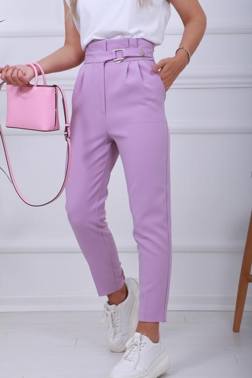 Lila Bel Metal Detay Kumaş Pantolon