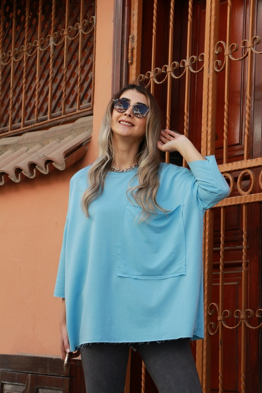 Mavi Cepli Bluz