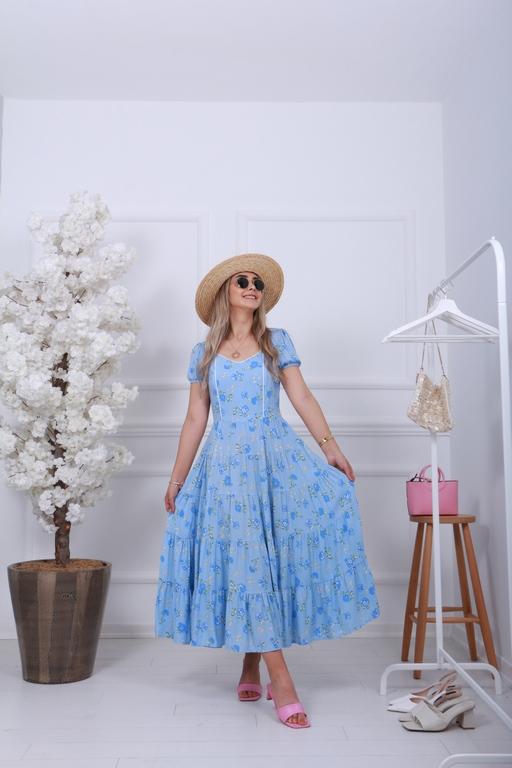 Mavi Gipeli Çiçek Elbise