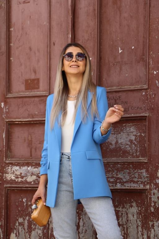 Mavi Kol Büzgü Detay Blazer