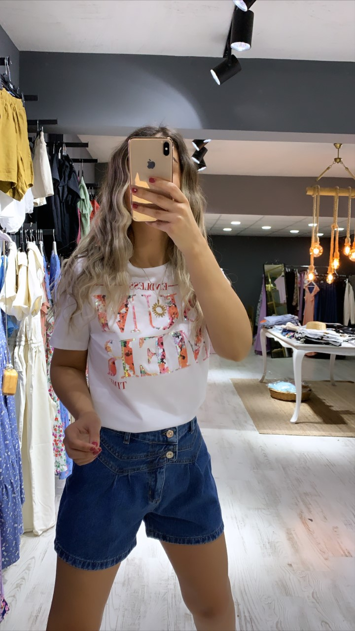 Summer Yazı Detay Tshirt