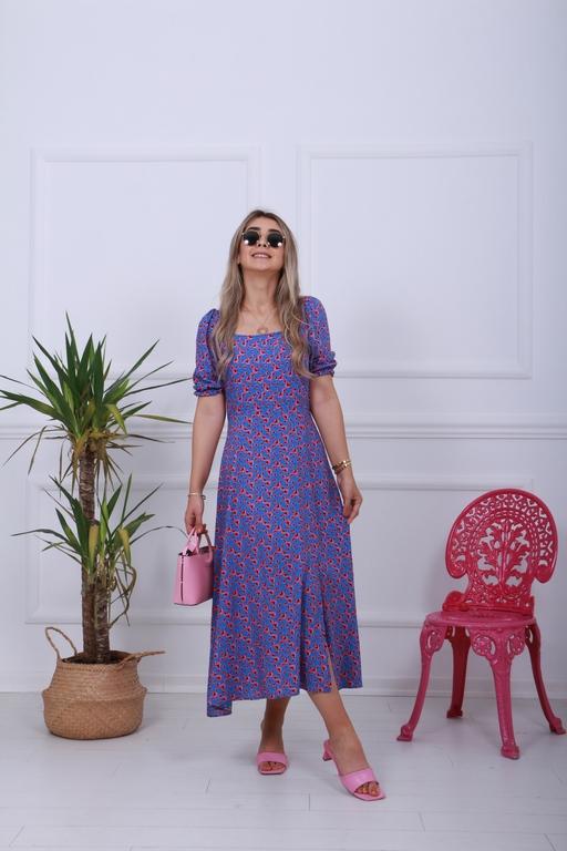 Turkuaz Çiçekli Kare Yaka Yırtmaçlı Elbise