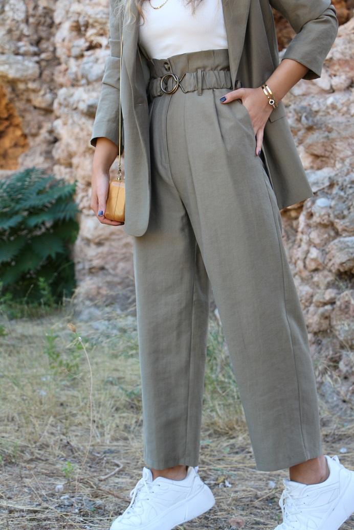 Yeşil Metal Kemer Detay Pantolon