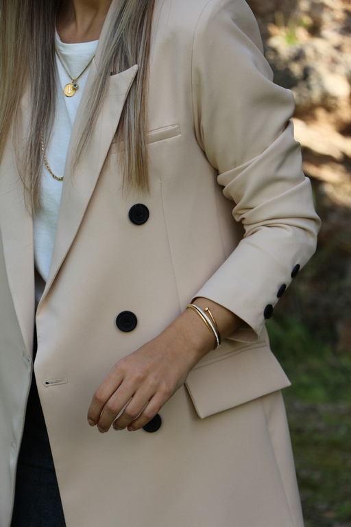 Bej  Üç Düğme Blazer