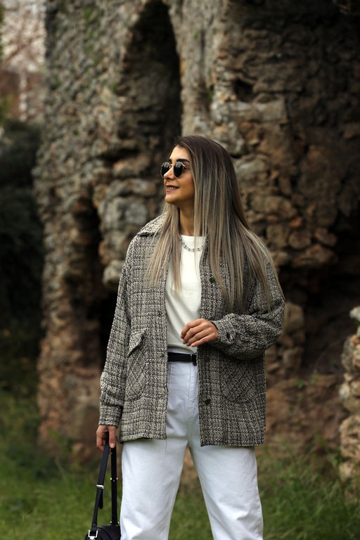 Siyah Beyaz Tüvit Ceket